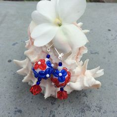 Floral Fireworks Lampwork Earrings by WithTheseHandsCreate on Etsy