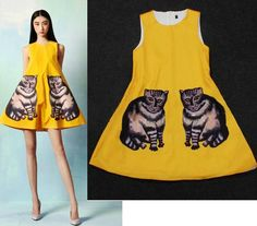 New Womens European Fashion Cat Printed Crewneck Sleeveless Mini Dress Quirky Fashion, Only Fashion, European Fashion, Cat Dresses, Look At You, Sewing Clothes, Fashion Prints, My Style, Cat Lady