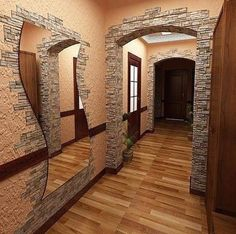not so much on the wall with the wavy mirror! It distracts from the distinct and unique brick doorway! House Design, Stone Walls Interior, Home Remodeling, Stone Decor, Brick Decor, Interior Design Bedroom Small, House Interior, Home Deco, Modern Rustic Decor