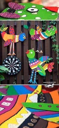 Big Cardboard Birds - Spring Crafts For Kids Bird Crafts, Animal Crafts, Fun Crafts, Arts And Crafts, Spring Crafts For Kids, Summer Crafts, Art For Kids, Recycled Art Projects, Projects For Kids