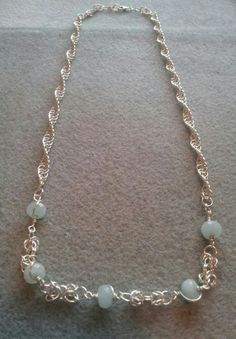 Handmade chain with aquamarine beads Aquamarine Necklace, Chainmaille, Wiccan, Spiral, Sterling Silver, Beads, Bracelets, Rings, Jewellery