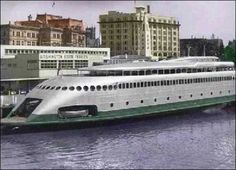 The Kalakala, a streamlined art deco ferry that ran in Puget Sound from 1935 till the late 60s