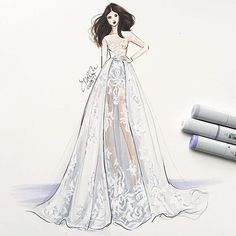 Thank you @hnicholsillustration for this outstanding drawing of this gorgeous dress from our latest Fall Winter 2016/2017 Bridal  Collection. #BridalFall16 #ZuhairMurad
