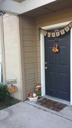 My version of fall decor!! #halloweenalternative #burlap #pumpkins