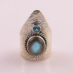 Blue Topaz & Labradorite Two Tone Sterling Silver Ring