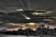 Sunset over Arizona State Land, Dove Mountain, Marana,