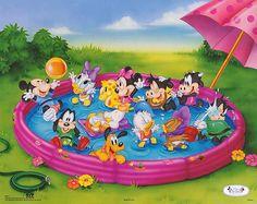 ''Disney Babies: Kiddie Pool'' by Walt Disney Humor Art Print Mickey Mouse Y Amigos, Mickey Mouse And Friends, Mickey Minnie Mouse, Disney Mickey, Baby Posters, Disney Posters, Disney Cartoons, Mickey Mouse Wallpaper, Disney Wallpaper