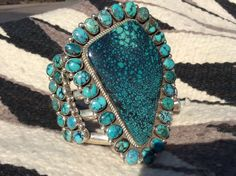 Magnificent Navajo Turquoise Cluster Bracelet by artist Lee Bennett ***WOW***