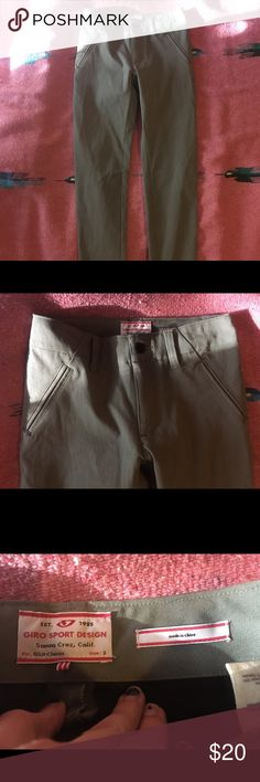 Giro Sport Design Women's GSD Classic Fit Pant sz2 Well made, like new, no flaws I can see. Material is strong and stretchy, great for biking or walking. Nice cut, clean lines and details, I would wear these to work. Fits like a true 2, or XS. Pockets in back zip, no pockets in front. Giro Sport Design Pants Straight Leg
