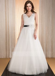 Ball-Gown V-neck Floor-Length Tulle Wedding Dress With Ruffle Sash Flower(s) (002031866) - JJsHouse