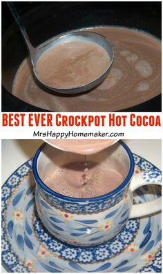 BEST EVER Crockpot Hot Cocoa. Seriously. I made this for a cookie exchange last night. SO delicious.