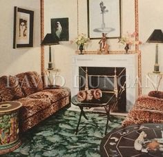 Madeleine Castaing created an inviting decor with an unusual palm frond Wilton carpet.   Published in Les reussites de la decoration francaise 1950-1960.