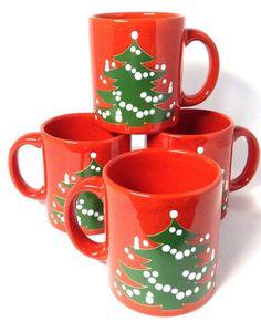Waechtersbach Christmas Tree Coffee Mugs Set of 4  sc 1 st  Pinterest & Waechtersbach Christmas Tree Mug West Germany Red Coffee Tea Cup 3 7 ...