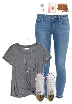 """day 2- last day of school"" by morgzz-07 ❤ liked on Polyvore featuring Paige Denim, Abercrombie & Fitch, Kendra Scott, Tory Burch, Converse and schoolsoutmadiandashe"
