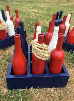 Items similar to Patriotic Wine Bottle Ring Toss, of July Game, Americana Decor, Painted Wine Bo School Holiday Party, Holiday Party Games, 4th Of July Games, Fourth Of July, Wooden Crates Design, Summer Barbeque, Ring Toss, Ring Game, Painted Wine Bottles