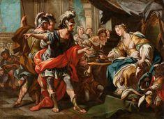 Andrea CASALI (Rome 1705 - 1784) L'empoisonnement de Sophonisbe Toile 99 x 135 cm (restauration ancienne) A rapprocher du tableau de Casali (Toile, 274 x 244 cm) du même sujet et conservé en Angleterre… - Aguttes - 15/10/2015