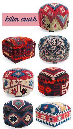 Kilim Ottomans - Ideas on Foter Bohemian Furniture, Western Furniture, Home Decor Furniture, Bohemian Decor, Furniture Design, Coffee Table Oriental, Kilim Ottoman, Deco Boheme, Floor Cushions