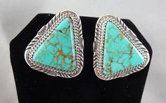 Vintage Navajo Sterling Silver & Turquoise Earrings Signed W Denetdale * ES11 #Pierced