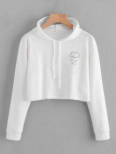 Romwe Rain Print Crop Hooded SweatshirtL