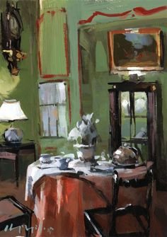 Art Print Green French Dining 9x12 on 11x14 - Set Table in a Green Paneled Room by David Lloyd