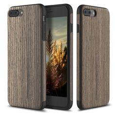Wood Pattern Skin Design + TPU Bumper Case for iPhone 7 & 7 Plus