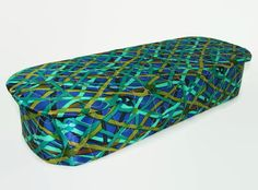 Satin Quilted Lingerie Box Geometric Print Blue by PJsParadise