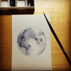 """im-not-mine: """"First watercolor. The moon.. """""""