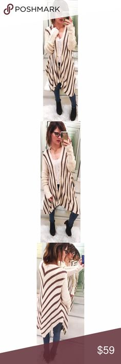 ➡Free People Cream Cardigan⬅ Lush cotton-blend yarns form this snap-front cardigan patterned in bold stripes and styled with a drapey, oversized silhouette. There is a spot on the right sleeve that doesn't show due to the length of sleeves and may come out. 💕Offers welcome. Take 30% off your entire purchase automatically at checkout when you use the bundle feature, or make an offer for your bundle. Happy Poshing!💕 Free People Sweaters Cardigans