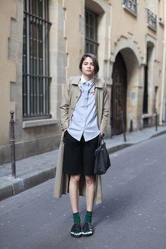 Alba in Paris with Celine furry sandals.