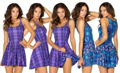 Tartan Purple Vs Midnight Owl Inside Out Dress