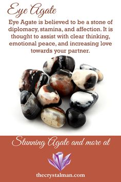 This tumbled Eye Agate features a stunning mixture of light to dark colors in incredible natural eye patterns. These stones have a beautiful polish. Crystal Healing Stones, Crystal Magic, Stones And Crystals, Gem Stones, Quartz Crystal, Minerals And Gemstones, Crystals Minerals, Rocks And Minerals, Wholesale Crystals