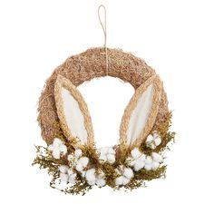 Handcrafted of grasses, burlap and more, our bunny-inspired wreath makes a fun spring statement. Hang it on your front door, in a window or on the back of a dining chair. Have more ideas about where our spring wreath can go? We're all ears. How To Make Rope, How To Make Wreaths, Easter Show, Easter Crafts, Easter Projects, Easter Decor, Easter Ideas, Easter Colors, Easter Wreaths