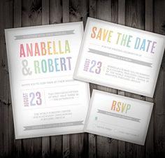 Colors Of The Rainbow Wedding Invitation SAMPLE By NimbiDesign, $25.00