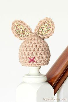 Newborn Bunny Hat Crochet Pattern via Hopeful Honey. Use this pattern for the head of my stuffed bunny