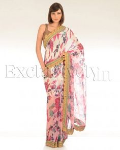 #Exclusivelyin, #IndianEthnicWear, #IndianWear, #Fashion, Candy Pink Sari