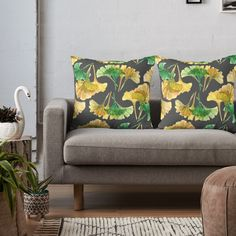 """""""Gingko Biloba leaves on dark grey pattern"""" Throw Pillow by victorsboutique 