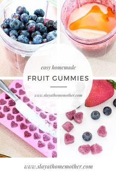 Easy homemade gummies with fruit and honey! Perfect treat for a kids birthday party or for party favors! Homemade Gummies, School Lunch, School Snacks, On The Go Snacks, Toddler Snacks, Snack Recipes, Health Recipes, Paleo Recipes, Healthy Snacks