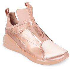 Puma Women's Metallic High-Top Sneakers ($110) ❤ liked on Polyvore featuring shoes, sneakers, pink, high-top sneakers, hi tops, puma high tops, high top trainers and puma shoes