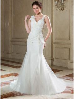 5f6b4359b0b3 Trumpet Mermaid V-neck Chapel Train Tulle Wedding Dress With Ruffle Lace  Beading Flower