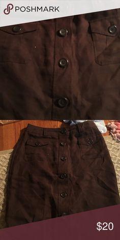 Brown pencil skirt has buttons banana republic Brown pencil skirt button up banana republic size 2 Banana Republic Skirts Pencil