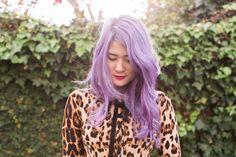 emiunicorn.com purple hair don't care. Portrait of Emi Unicorn wearing @Wheelsanddollbaby