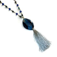 Blue and Silver Beaded Tassel Necklace with Blue Agate Stone