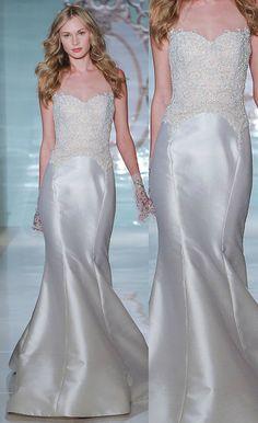 Sexy Mermaid Wedding Dress, Satin Lace Wedding Dress,