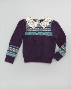 Heritage Fair Isle Sweater, Purple Autumn, 2T-3T by Ralph Lauren Childrenswear at Neiman Marcus.