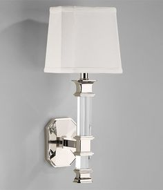 Solid Crystal Sconce With Polished Nickel Details