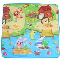 HS Baby Kid Toddler Play Crawl Mat Carpet Playmat Blanket Rug for In/Out Doors (Ranch animals)