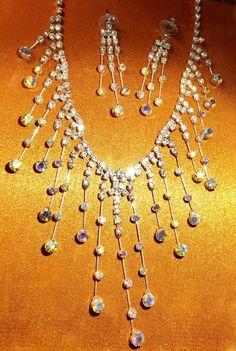 RED CARPET Kirks Folly Collar Fringe Necklace & Earrings Set BLING New! Mint #KirksFolly