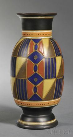 Gouda Semi-matte Glaze Pottery Vase, Holland, c. PZH Luka geometric patter… Gouda Semi-matte Glaze Pottery Vase, Holland, c. PZH Luka geometric pattern in polychrome enamels. Glazes For Pottery, Pottery Vase, Ceramic Pottery, Gouda, Glass Ceramic, Ceramic Art, Earthenware, Stoneware, Art Nouveau