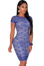 Blue Lace Nude Illusion Fringe Trim Dress