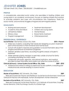 Sample Social Work Resume Examples Career Social